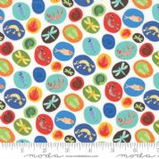 Jurassic Jamboree by Abi Hall - 4887 - Fossil Medallions on White - 35293 11 - Cotton Fabric